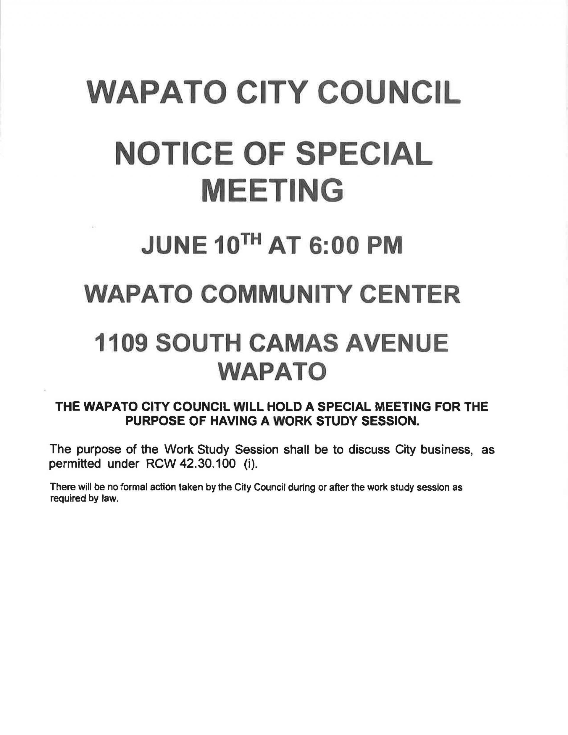 NOTICE OF SPECIAL MEETING JUNE 10TH @ 6:00 PM