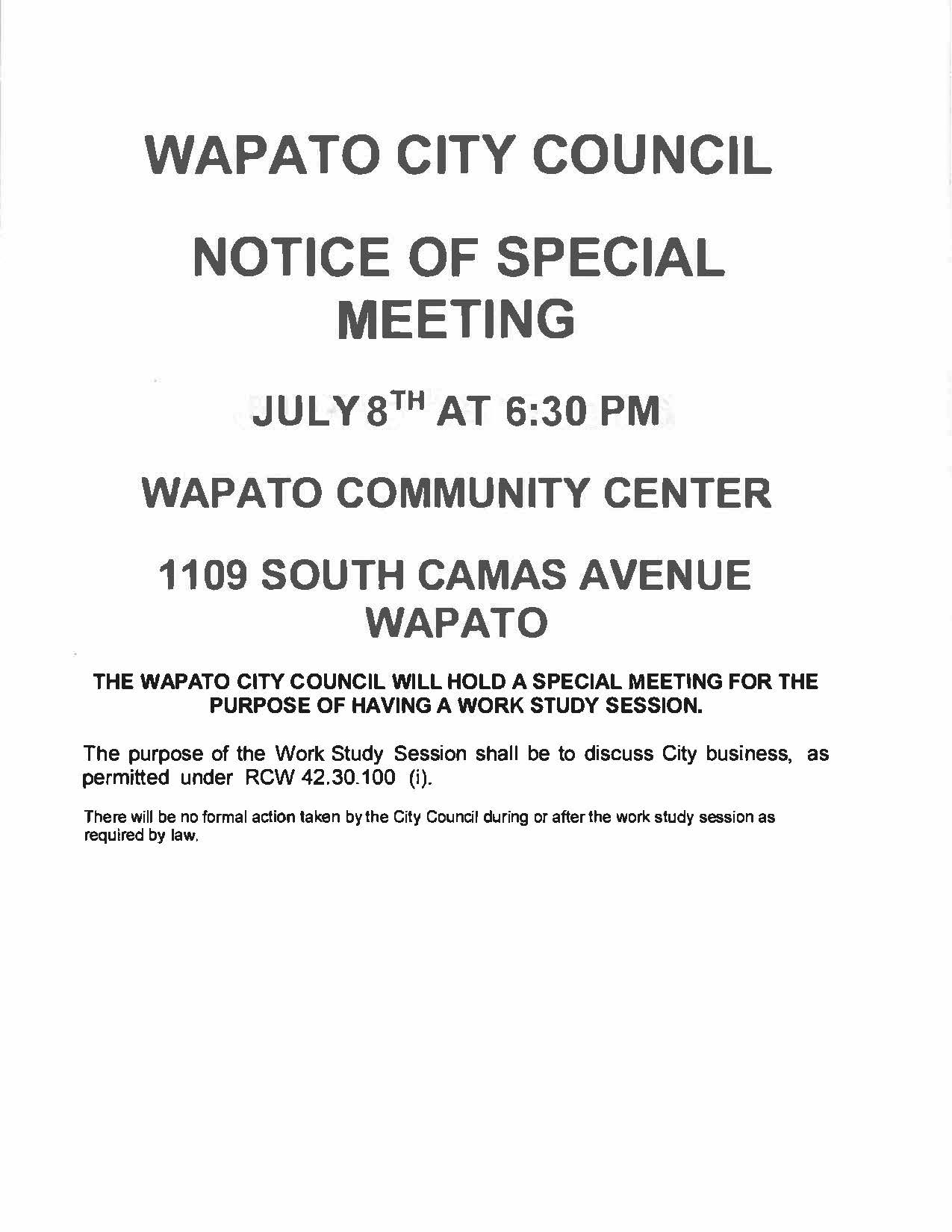 Notice of Special Meeting July 8th @ 6:30 pm